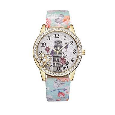XKC-watches Herrenuhren, Damen Armbanduhr Quartz Armbanduhren für den Alltag Leder Band Analog Blume Modisch Schwarz/Blau / Rot - Blau Rosa Leicht Grün (Farbe : Gold)