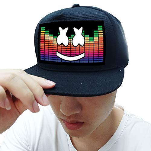 WEISY LED Baseball Cap Aktiviert Sound Glow In Dark, Leuchtender Hut für Fancy Dress Dance Halloween Cosplay