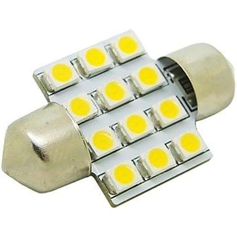 LQK- 31 millimetri 1W 12x3528 SMD 50lm 2800 ~ 3200K Warm lampadina LED bianco per l'automobile cupola del festone Lampada lettura (DC 12V)