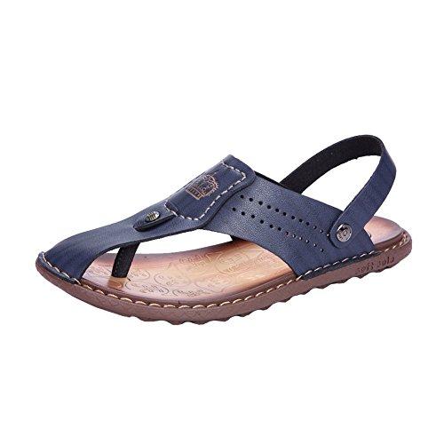 H&W Herren Leder Sandalen Offen Zeh mit Beweglich Fesselriemen Blau