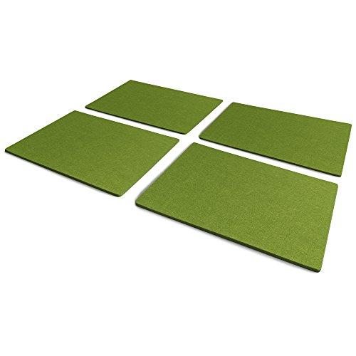 FILU Platzsets aus Filz (Farbe wählbar) 4 Stück Set (grün, eckig, 30 x 41 cm) Tischset / Platzset...