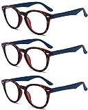 VEVESMUNDO Lesebrillen Damen Herren Rund Retro Nerd Groß Design Vollrand Federnscharnier Lesehilfe Sehhilfe Brillen mit dioptrien 1.0 1.5 2.0 2.5 3.0 3.5 4.0 (3 Stück Blau Lesebrillen, 3.5)