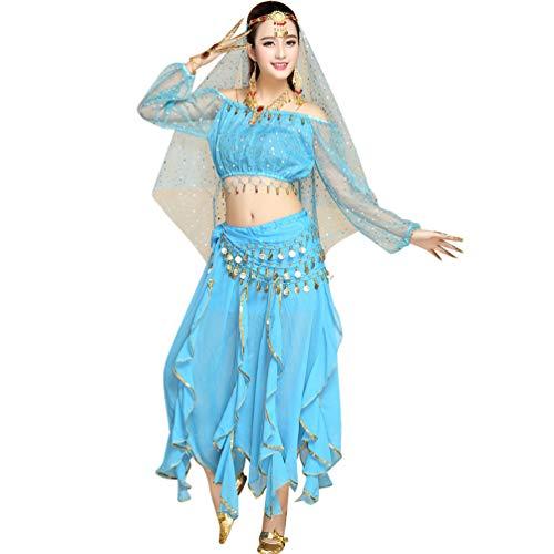 TianBin Damen-Bauchtanz-Kostüm mit Oberteil Schleier Hüfttuch Hose Metall Headwear Alle Accessoires (See Blau#3, One Size)