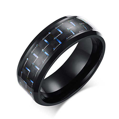 Heyrock Blue Carbon Fiber Men's Rings Black Classical 8mm Wide Stainless Steel Ring (Stainless Steel Wide Band)