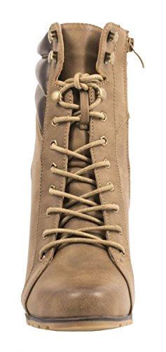 Elara Damen Stiefeletten | Stiefel Trichterabsatz | Lederoptik Khaki 2