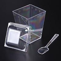 BESTONZON 10 Juegos de 150 ML de plástico Postres Copas y cucharas Cuadrados de Cubo Pequeños Suministros de Catering para pastelería Restaurante Bar (Transparente)