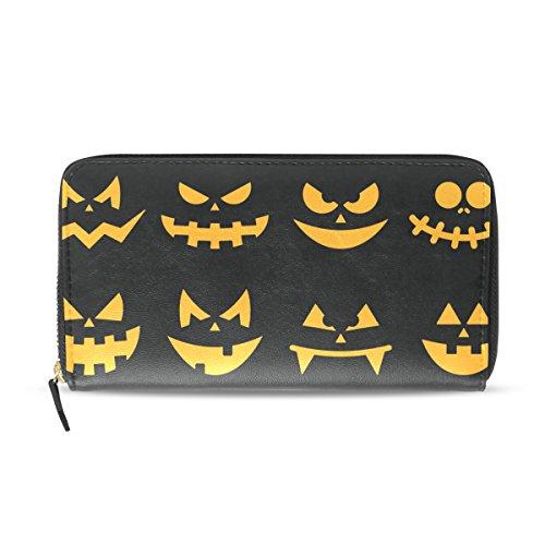 en orange Kürbis-Gesichter PU-Leder-große Kapazitäts-Mappen-Kartenhalter-Organisator mit Reißverschluss Kupplung Geldbörse für L Mehrfarben (Scary Halloween Gesichter)