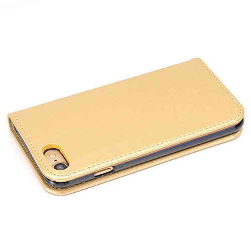 JIALUN-Telefon Fall Premium PU Leder Geldbörse Fall, Folio Flip Stand Case Cover mit Halter & Card Slots & Magnetverschluss für iPhone 7 ( Color : Gold ) Gold