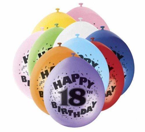 (18th Happy Birthday Latex Balloons 10pk)