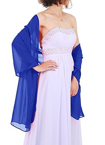 Dressystar Chiffon Stola Schal für Kleider in verschiedenen Farben Royalblau 160cm*50cm