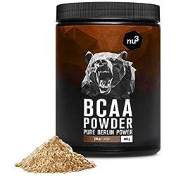 nu3 BCAA en polvo | 400g sabor chispeante cola | 40 porciones de aminoácidos ramificados | Proporción óptima de leucina, isoleucina y valina 2:1:1 | Suplemento deportivo | Nutrición deportiva vegana