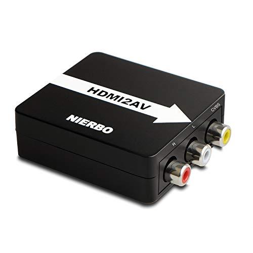 HDMI zu AV RCA Adapter, NIERBO Signalkonverter Kompatibel mit HDMI, Unterstützung PAL / NTSC Switch