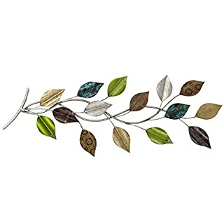 Whole House Worlds Wall Object Tree Branch for Decoration, Wall Art, Artisan Crafted, Green, Silver, Gold and Brown Leaves, L75 cm, Iron