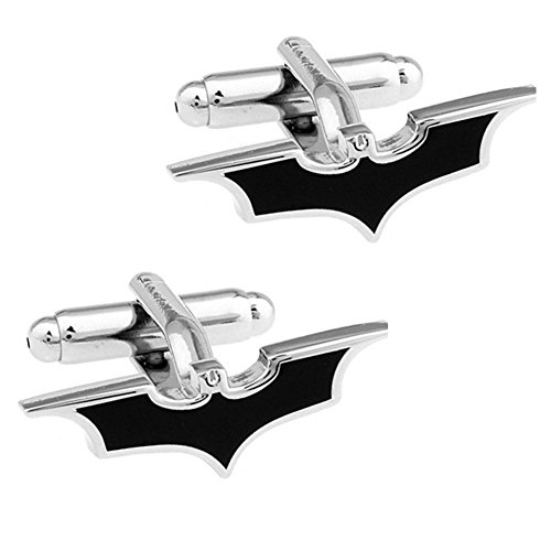 Batman Herren Manschettenknöpfe Edelstahl Schwarz / Silber (2 Stück - 1 Paar)