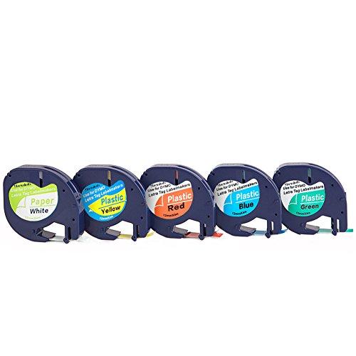 5er Schriftband Kassette kompatibel für Dymo LetraTag 91220 91222 91223 91224 91225 Beschriftungsbänder Schriftbandkassette Schriftbänder Etikettenband 12mm x 4m für LT-100H lt-100t lt-110t QX 50 XR XM 2000 Plus Label Makers
