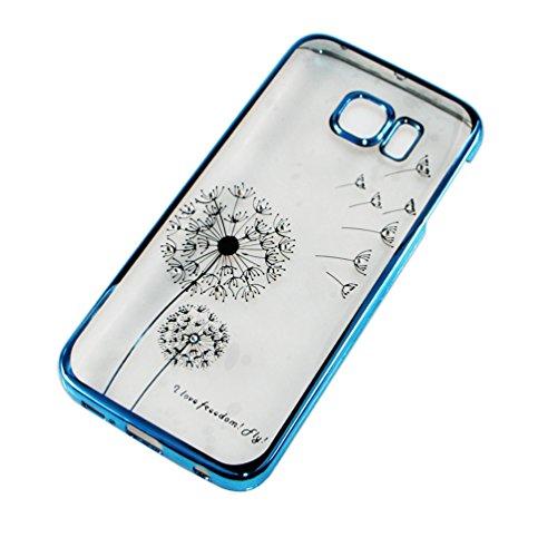 iPhone 6S Coque ,iPhone 6 Coque, EMAXELERS Transparente Hard Clear Plating PC Etui Rose Dandelion Motif Sparkles Bling Crystal Case Coque Etui Protection Pochettes Back Cover pour Apple iPhone 6/6S -- Blue Dandelion