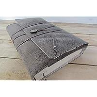 Protège livre fait main, couverture format livre de poche/littéraire roman, couvre livre en tissu suédine gris, cadeaux, voyage, noël, anniversaire