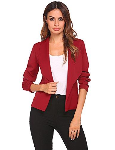 Zeela Damen Blazer Kurzjacke Jacke Klassischer Verschlussloser Kurzblazer Taillierter mit Langarm und Schal Kragen Rot