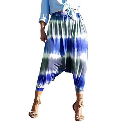 XNBZW Damen Lose Weites Bein Hose Elastische Taille Sommerhose Pumphose Haremshose Pluderhose Hose Ballonhose Lange Hose(Blau,L)