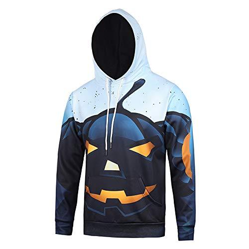 WANLN Benutzerdefinierte 3D-Druck Unisex Halloween Hoodie Langarm Pullover Sweatshirt,Grau,XXL