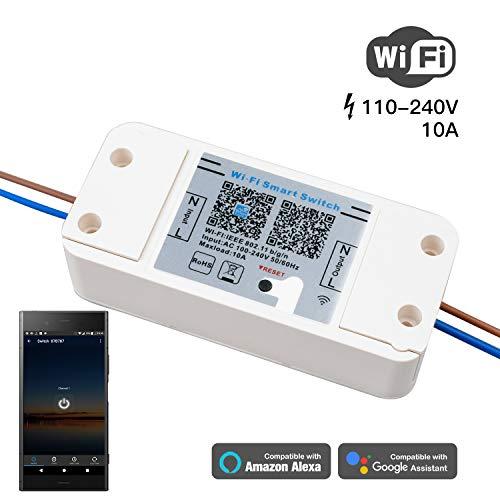 Magic Wifi Smart Schalter, WLan 2,4Ghz Switch, Intelligente Zeitschaltuhr Wecker, Smart Home Fernsteuerung 10A mit IOS, Android APP/Alexa/Amazon Echo/Echo Dot Google Home