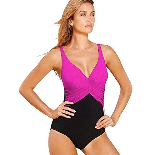 Traje de baño de mujer, Manadlian Traje de baño de mujer Conjunto de bikini talla grande Sujetador push-up acolchado traje de baño (XXXL, Rosa roja)