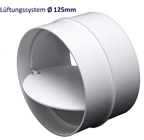 Rohrverbinder Verbindungsstück mit Rückstauklappe. Rohr Verbinder für PVC Lüftungssysteme Ø100, Ø125, Ø150 mm. (Ø125mm)