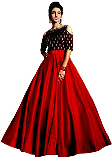 WestCoastOn Women's Silk Lehenga Choli ( Dark Red_Free Size)