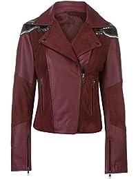 Firetrap Womens Blackseal Sequin Leather Jacket PU Coat Top Lightweight Zip Full
