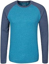 3407cc31 Mountain Warehouse Waffle Long Sleeve Mens T-Shirt - Round Neck Tee, UPF30  Summer