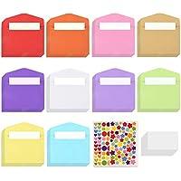 TUPARKA 218 Pcs Mini juego de sobres y tarjetas, incluye bolsillo para sobres de 100 piezas, tarjetas de regalo de negocios en blanco de 100 piezas, 18 hojas, acción de gracias (colores surtidos)