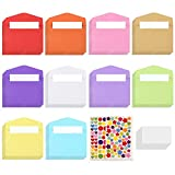 TUPARKA 218Pcs Mini Umschläge und Karten-Set, enthält 100Pcs Umschläge Pocket, 100Pcs leere Business-Geschenk-Karten, 18 Blatt Aufkleber für Weihnachten, Thanksgiving (Farbe sortiert)