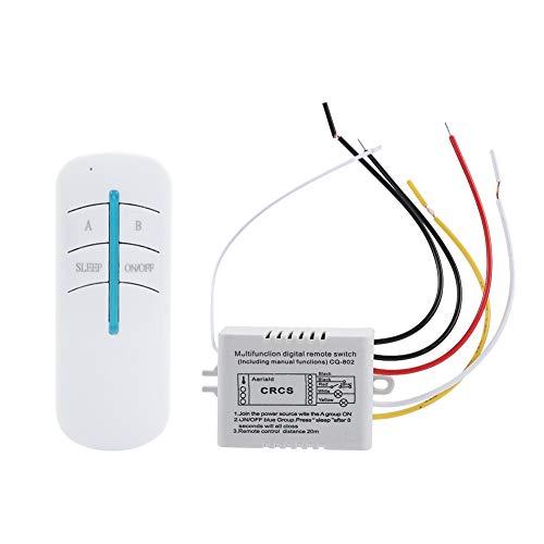 Tihebeyan Drahtloser 220-V-Wandschalter und 2-Wege-Fernbedienungssender / 3-Wege-Digitalfernbedienungsschalter EIN/AUS-Schalter Fernbedienungsempfänger (2-Vie) -