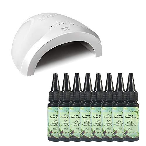 8x30ML Resina Transparente UV Kit con Lámpara UV/LED 48W Alta Potencia Curado Rápido, Pegamento UV para Hacer Manualidades Joyas Joyería Regalos a Mano DIY Bricolaje Recubrimiento con Resina