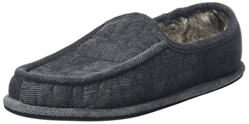 Mens Cord Full Slippers With Soft Faux Fur Lining & Non-Slip Sole - Grey, UK 10