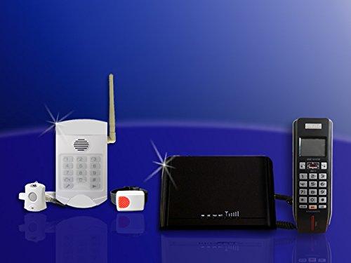 Senioren Funk-Notruf-System inkl. Halsband u. Armband Sender mit GW-05 und LCD Telefon für Nutzung ohne Telefonanschluss (Lcd-sender)