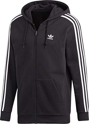 adidas Herren 3-Streifen Full Zip Hoody, Black, M Adidas Zip-hoodie