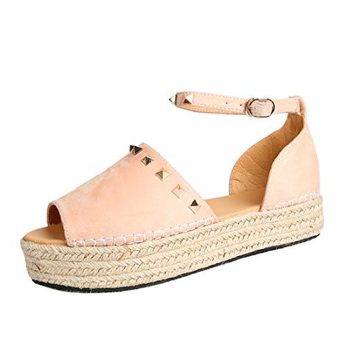 Heflashor Damen Sandalen Sommer Elegant Espadrille-Sandalen Flach Peep Toe Bequeme Plateauschuhe knöchelriemen high Heel 6-8 cm (37 EU, Rosa Niet)
