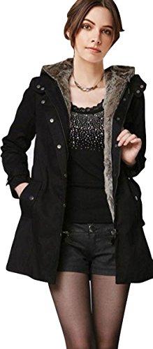 jeansian Damen Casual Hood Thick Winter Warm Fleece Lined Parka Faux Fur Hooded Jacket Trench Coat WHS066 Black XXL [Apparel] (Petite Pullover Coat)