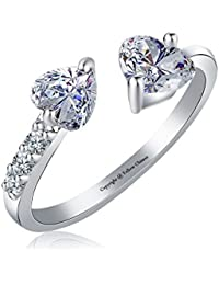 Yellow Chimes A5 Grade Crystal Heart Ring for Women (Silver)(YCFJRG-863HRT-SL)