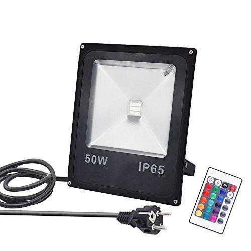 GLW 50W RGB Fluter mit Fernbedienung,4 Modi 16 Farben,Außenleuchten Wasserdicht IP65,Memory-Funktion,Europäischer Stecker,Garten Deko Beleuchtung,Gartenleuchte Projektor (Garten Farbe)