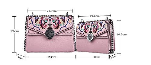 Modische Tasche, bestickte Kettentasche, Umhängetasche, Designer-Handtasche, umweltfreundliche Kunstleder @ Pink-Version