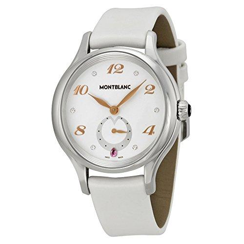 Montblanc Princesse Grace de Monaco / orologio donna / quadrante bianco con diamanti / cassa acciaio / cinturino pelle bianca