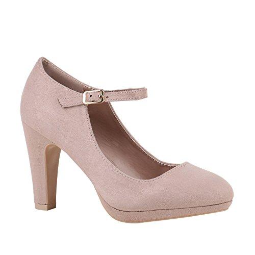 Stiefelparadies Damen Schuhe Plateau Pumps Lack Spangenpumps High Heels Blockabsatz 152435 Creme Velours Basic 41 Flandell