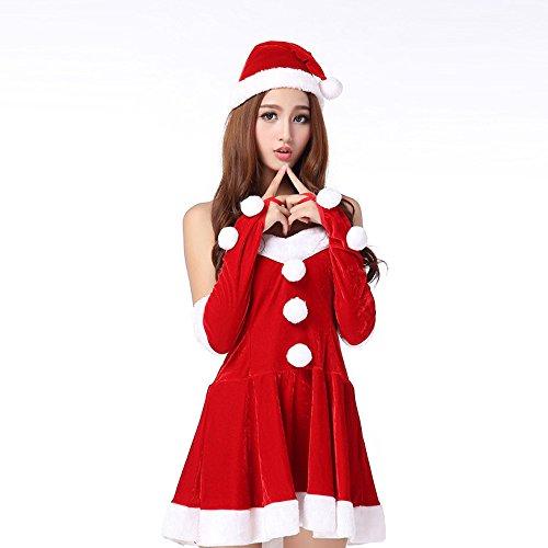 Lucky Mall Sexy Santa Kostüm Cosplay-Anzug, 2 PCS Frauen-Weihnachtsfeier-Abendkleid + Hut