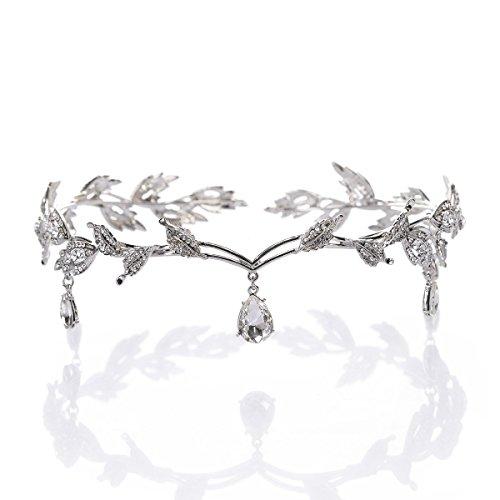 Remedios Elegante Blatt Entwurfs Hochzeits Kronen Diadem Strass Braut Brautjungfern Kopfstück Stirnband