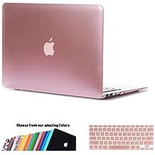 MacBook Air 13 Hülle Case,iNeseon Ultra Slim Plastik Hartschale Tasche Cover Shell, US Version Rose Gold und EU Version Transparent Tastatur Abdeckung Schutzhülle für Apple MacBook Air 13,3 Zoll [Modell: A1466 und A1369] (Roségold)