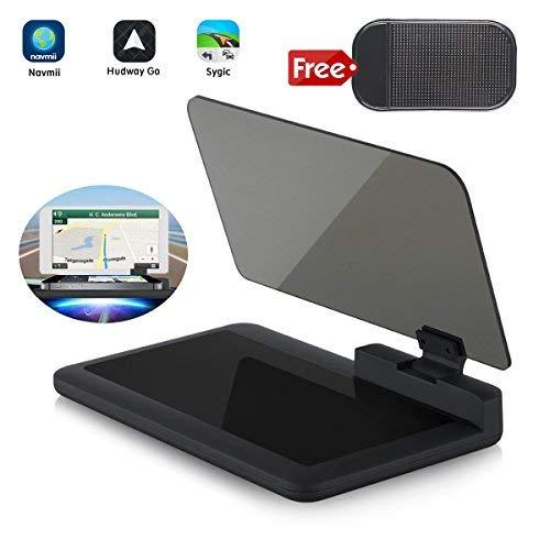 Head-up Affichage Navigation GPS - Bysameyee Universal Car Dash Mont Support de Téléphone Portable Film Réfléchissant, Véhicule HUD Support de Smartphone Support pour iPhone Android Téléphones