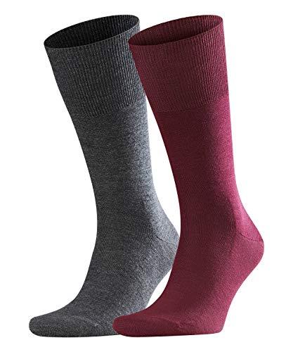 Crew Seide Crew Socken (FALKE Herren Airport Pack of 2 Socken, Mehrfarbig (Barolo 8596), 39/40 (2er Pack))