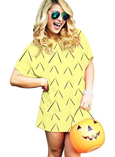 Goodstoworld Halloween 3D T Shirt Kleid Damen Sexy Gelbe Ananas Obst Druck Lang T-Shirt Mini Dress Kostüm